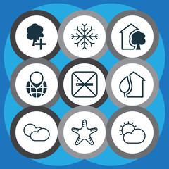Set Of 9 Eco Icons. Includes Snow, Insert Woods, House And Other Symbols. Beautiful Design Elements.