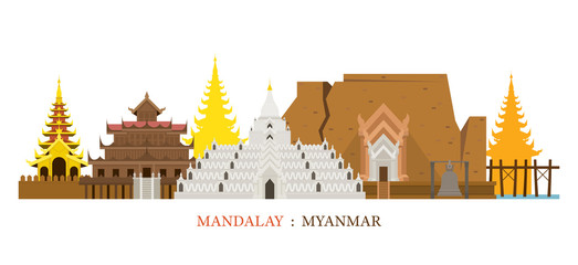 Mandalay, Myanmar Architecture Landmarks Skyline, Cityscape, Travel and Tourist Attraction