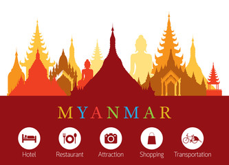 Myanmar Landmarks Skyline with Accommodation Icons, Cityscape, Travel and Tourist Attraction