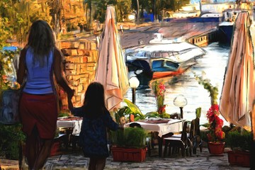 silhouette of woman and child walk in town of Nesebar, art lines and watercolors painting background