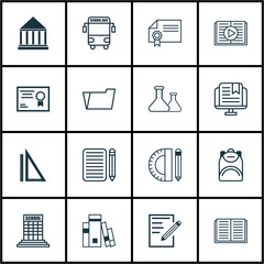Set Of 16 Education Icons. Includes Education Tools, Home Work, E-Study And Other Symbols. Beautiful Design Elements.