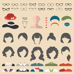 Big vector set of dress up constructor with different woman haircuts, glasse etc. Female faces icon creator.