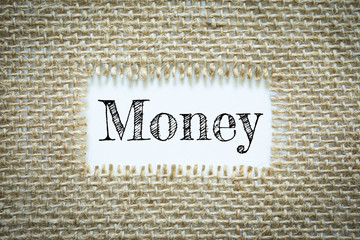 Text Money on paper white has Cotton yarn background you can apply to your product.