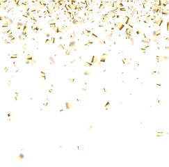 Festive background with golden confetti.