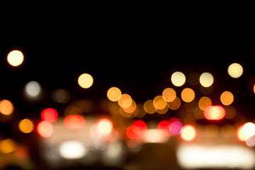 Abstract blurred background of traffic jams in the city at night time, Bangkok Thailand.