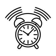 clock alarm ringing icon black contour on a white background of vector illustration