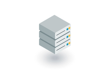 data center, server isometric flat icon. 3d vector colorful illustration. Pictogram isolated on white background