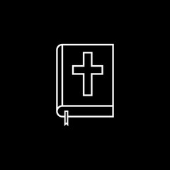 Holy bible book line icon, religion & christianity, Religious sign, a linear pattern on a black background, eps 10.