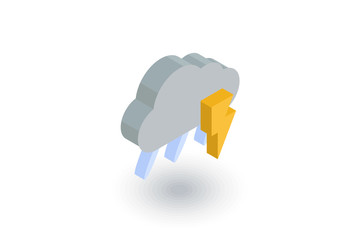 Lightning, thunder storm, rain and cloud isometric flat icon. 3d vector colorful illustration. Pictogram isolated on white background