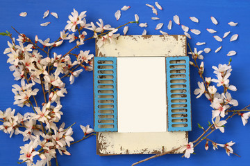 spring white cherry blossoms tree and blank photo frame