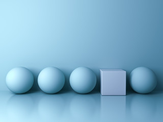 Stand out from the crowd and different creative idea concepts , One white square box standing among blue spheres on blue background in the row with reflections and shadows . 3D rendering.