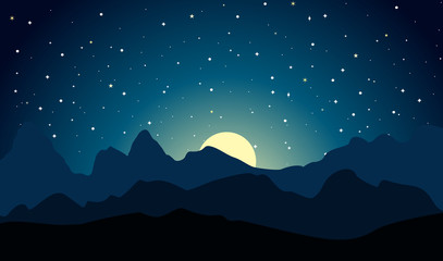 Mountains vector landscape at moonlit night. Outdoor background. Peaked mountain ranges.