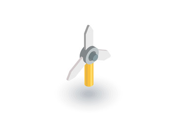 windmill energy isometric flat icon. 3d vector colorful illustration. Pictogram isolated on white background