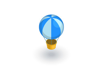 Air balloon isometric flat icon. 3d vector colorful illustration. Pictogram isolated on white background