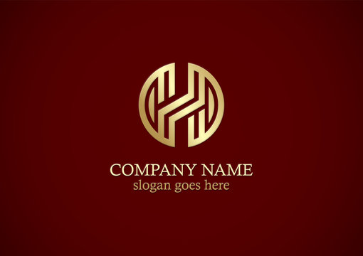 round gold letter h company logo