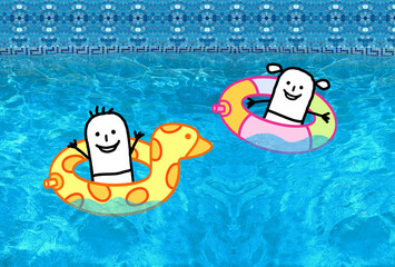 Cartoon character - Kids with buoys in swimming pool