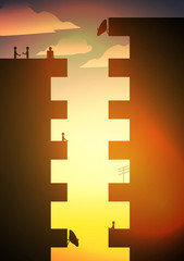 Apartment Balcony Silhouette with People - Vector Illustration