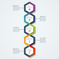 Infographic template of hexagonal elements. Vertical timeline concept with 5 options, steps, parts, segments. Vector banner for web, workflow layout, diagram, chart, annual report