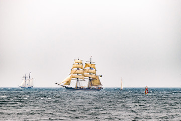 Sailing ships on the sea. Tall Ship.Yachting and Sailing travel.