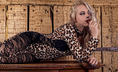 The woman in an erotic suit of a leopard