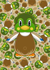 Cute Cartoon mallard Duck Pattern