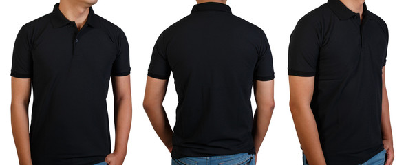 Black t-shirt on asian young man isolated on white, front side rear side and back side with copy space for text design and logo.