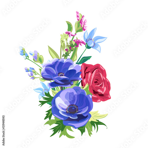 Bouquet of blue and red flowers rose anemone forget me not bouquet of blue and red flowers rose anemone forget me not ccuart Image collections
