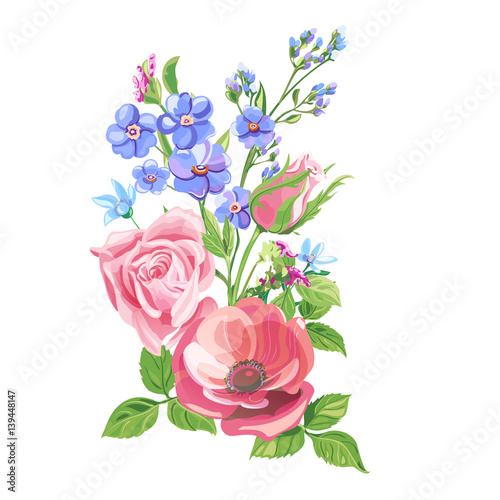 Floral composition bouquet red poppy pink rose flower and bud floral composition bouquet red poppy pink rose flower and bud blue forget ccuart Image collections