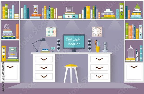 The Interior Design Of The Room To Study. Childrenu0027s Room In A Flat Style.