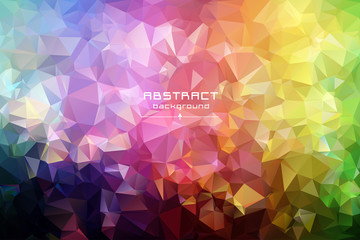 Abstract low poly triangles background. Red, blue, yellow, green. Light to dark, stretching. Geometric polygonal design. Multicolor. Warm colors and shades. All colors of the rainbow.