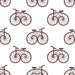 seamless pattern of retro bicycle