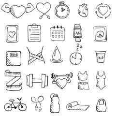 Set of hand drawn healthy lifestyle icons set.