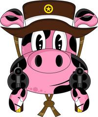 Cartoon Wild West Pig Cowboy Sheriff