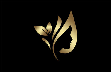 natural beauty salon and hair treatment logo in gold and metal color
