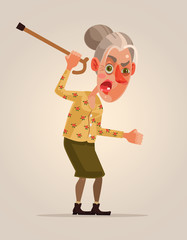 Angry old woman character. Vector flat cartoon illustration