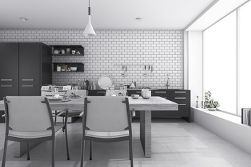 3d rendering nice white brick kitchen and dining room