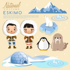 Eskimo traditional costumes : Vector Illustration