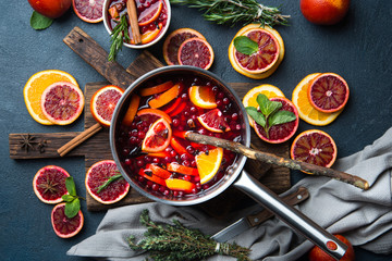 Mulled wine with slice of orange