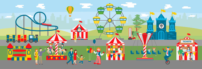 Amusement park illustration. Circus and ferris, fun fair and roller coaster. Parents and children have fun. Kids ride on carousels.