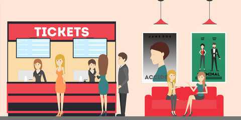 Cinema theatre lobby with tickets, posters and visitors. Choosing seatsand films.