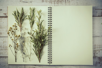 dry flower and leaf on blank page notebook on old white vintage wooden background