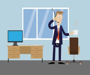 man in office drinking coffee, talking on the phone. vector illustration of cartoon