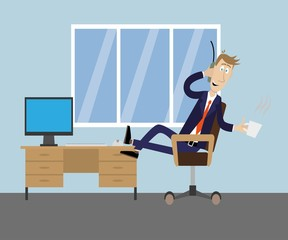 drinking coffee in the office talking on the phone. vector illustration