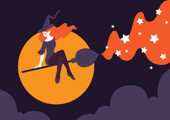 Vector illustration of beautiful witch riding broomstick on night sky