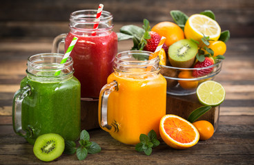 Wall Murals Juice Healthy fruit and vegetable smoothies