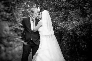 Black and white silhouette of newly married couple hugging at park in sun rays