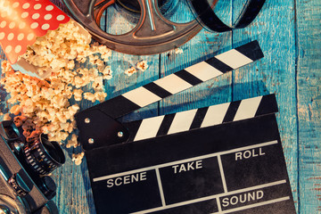 Film camera chalkboard , roll and popcorn