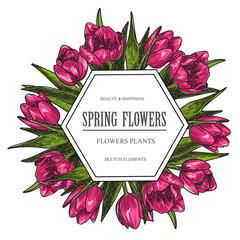 Vector design banner for flower shop and floristic shop with hand drawn flowers illustration. Vintage bouquet sketch background