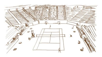 Sketch of Tennis stadium in vector illustration.