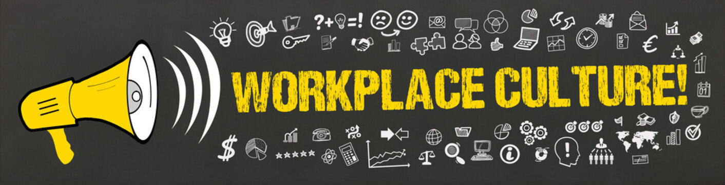 Workplace Culture! / Megafon mit Symbole